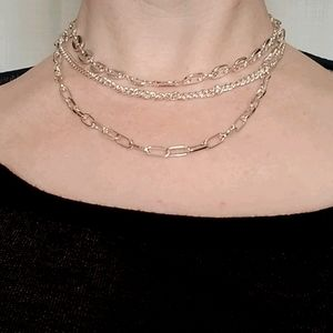 Chain link multistrand necklace